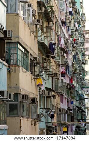 Apartment blocks in Hong Kong China - stock photo