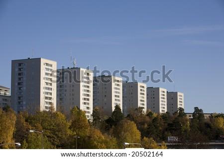 Apartment Blocks In Stockholm Sweden At Autumn Stock