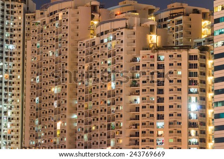 apartment building at night time background