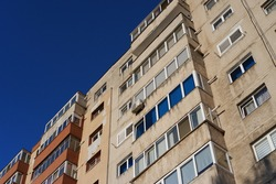 Apartment building built in the communist era of Eastern Europe