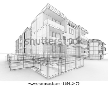 apartment building design concept, architects computer generated visualization in drawing style