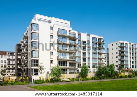 apartment building exterior, residential house facade Foto stock ©