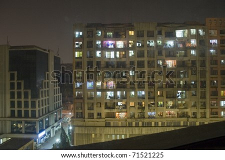 Apartment building in Mumbai (Bombay), India at night.