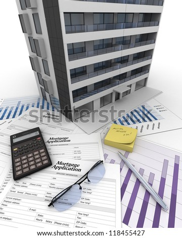 Apartment building on top of a table with mortgage for Apartment building cost calculator