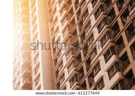 apartment building room liveing area , vintage tone #611277644