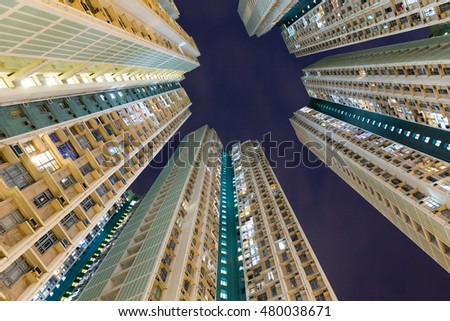 Apartment building to the sky at night #480038671