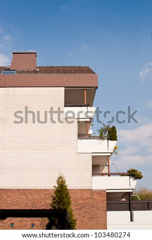 Apartment building with terrace balconies