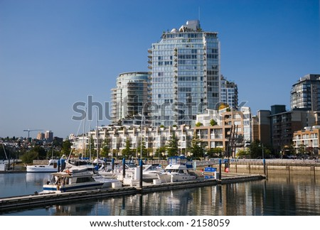 Apartment buildings and marina in Downtown Vancouver