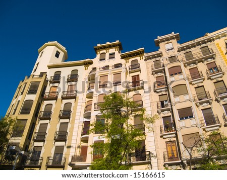 Apartment buildings in Madrid, Spain. - stock photo
