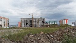 Apartment buildings under construction. New residential area. Modern architecture. Ust-Kamenogorsk (Kazakhstan)
