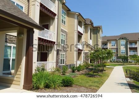 Apartment complex building in suburban area
