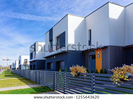 Apartment house and home residential building complex with gate concept