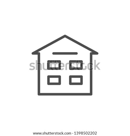 Apartment house line icon isolated on white