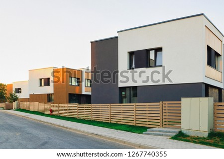 Apartment house residential home architecture with entrance gate concept. #1267740355