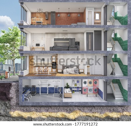Apartment house. Sliced multi-storey building, see different interiors. 3d illustration Сток-фото ©