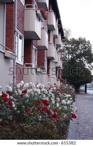 Apartment House with Flowers