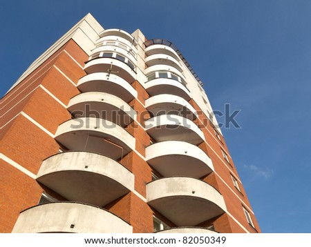Apartment houses in sunny day and with blue sky. Lodz, Poland
