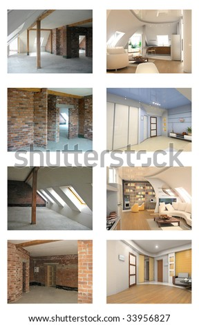 apartment interior frame and design project set
