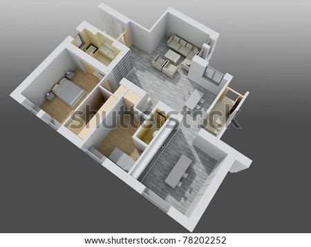 apartment interior.perspective view