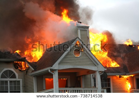 Apartment on Fire -2 stock photo