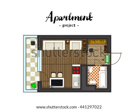 Apartment project with furniture. Studio, kitchen with living room, and balcony. Handwritten inscription. illustration of top view #441297022