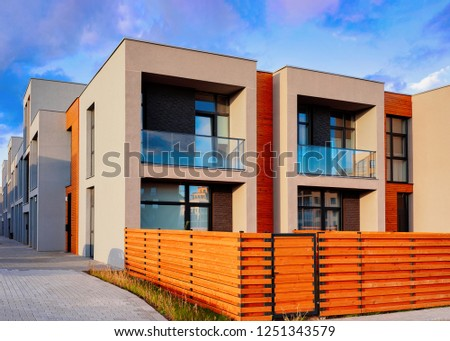 Apartment residential townhouse buildings outdoor concept. Street and backgrounds. Сток-фото ©