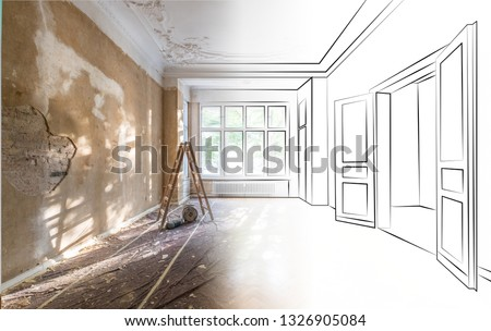 apartment room during renovation merged with outline drawing / sketch of the room