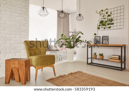 Apartment with cozy armchair designed with earthy colours