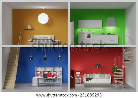 Apartment with four colorful rooms in a living box (3D Rendering) Stock photo ©