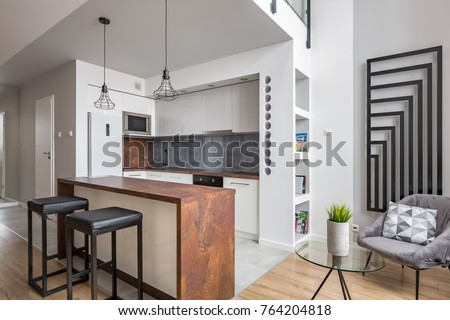 Apartment with functional open kitchen and modern wall radiator ez