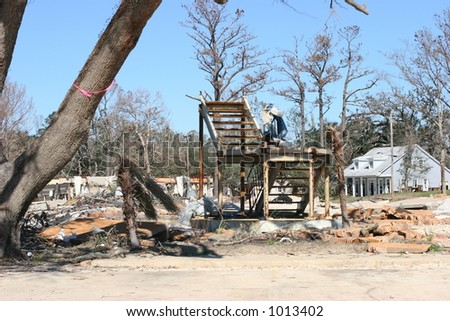Apartments destroyed by Hurricane Katrina. - stock photo