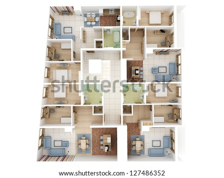 Apartments level top view building design process stock for Apartment design process
