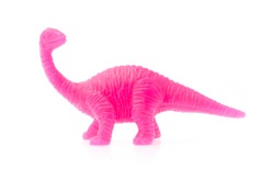 Apatosaurus made out of plastic. dinosaur toy isolated on white background