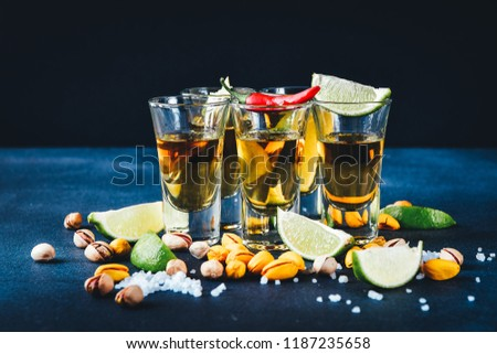 aperitif with friends in the bar, five glasses of alcohol with snacks lime and pistachio, salt and chili pepper for decoration. Tequila shots, vodka,whisky, rum.  selective focus and copy space #1187235658