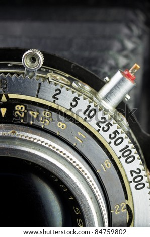Aperture and shutter speed of old camera