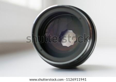 aperture lens on white background