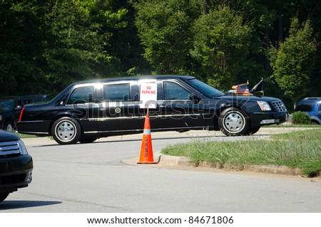 APEX, NC, USA - SEPTEMBER 14: President Barack Obama arrives at Westar Company in a limosine on September 14, 2011 in Apex, NC, USA