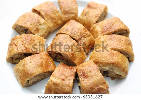 Apfelstrudel, stroodle or apple strudel cake pastry bakery - stock photo