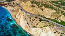Aphrodite beach, Cyprus. View from a height. Quadrotor filming