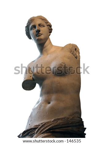 Aphrodite of Melos (Venus de Milo)statue in Louvre, Paris