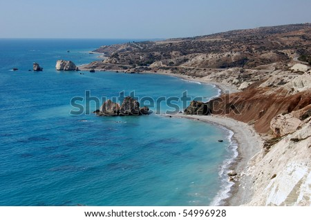 Aphrodite's rock in Cyprus. Its status in mythology as the birth place of Aphrodite  makes it a popular tourist location.