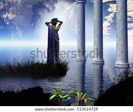 Aphrodite the Greek goddess of love, known to the Romans as Venus, standing in a temple grotto, 3d digitally rendered illustration