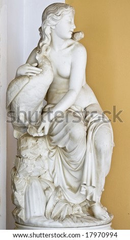 Aphrodite with a goose, Classic era statue of Greek origin. Achilleion palace, Corfu island, Greece