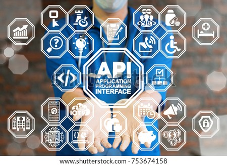 API - Application Programming Interface Healthcare concept. Doctor using virtual interface offers api text icon. Developing medical app.