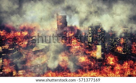 Apocalypse. Burning city, abstract vision. Photo manipulation #571377169