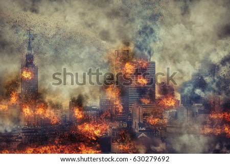 Apocalypse. Burning city, abstract vision. Photo manipulation #630279692
