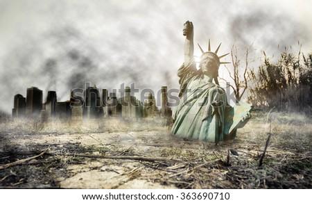 Apocalypse in New york. Fantasy concept about apocalyptic scenario