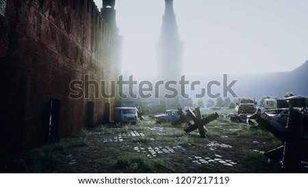 Apocalypse of Russia. Aerial View of the destroyed Moscow city, red square. Apocalypse concept. 3d rendering.