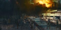 Apocalypse survivor concept, Ruins of a city. Apocalyptic landscape