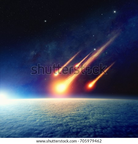 Apocalyptic background -  asteroid impact, end of world, judgment day. Group of burning exploding asteroids approaches to surface of planet Earth. Elements of this image furnished by NASA #705979462